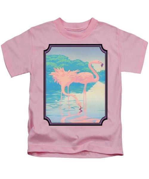 Pink Flamingos Abstract Retro Pop Art Nouveau Tropical Bird Art 80s 1980s Florida Decor Kids T-Shirt by Walt Curlee
