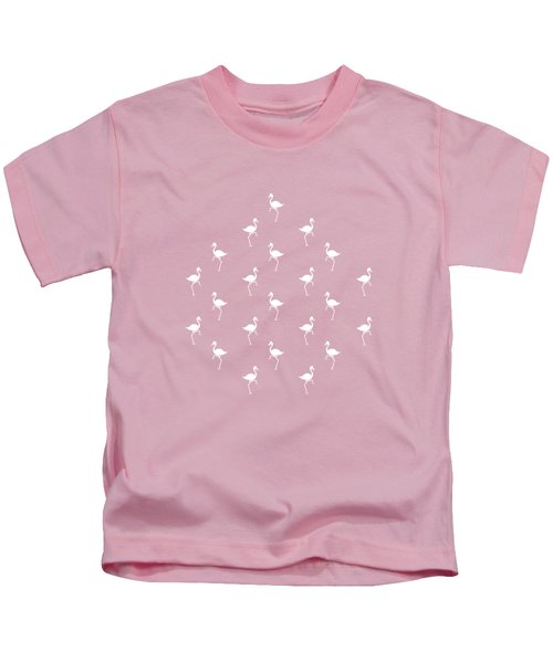 Pink Flamingos Pattern Kids T-Shirt by Christina Rollo