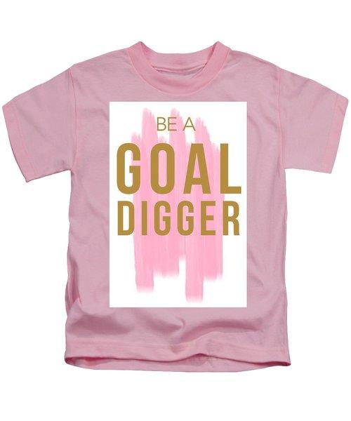 Pink Goal Digger Kids T-Shirt by Elizabeth Taylor