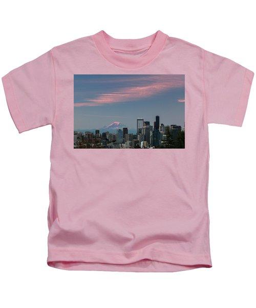 Pink Highlights Over Seattle-mt. Rainier Kids T-Shirt
