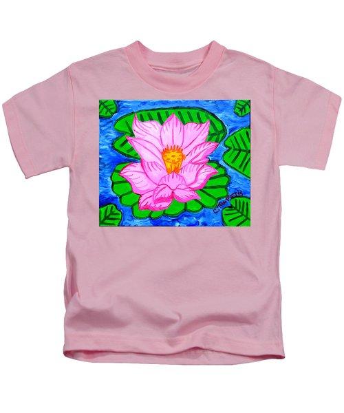 Pink Lotus Flower Kids T-Shirt