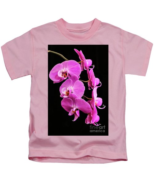 Pink Orchid With Black Background Kids T-Shirt
