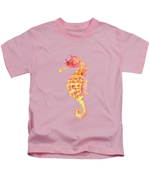 Pink Yellow Seahorse Kids T-Shirt