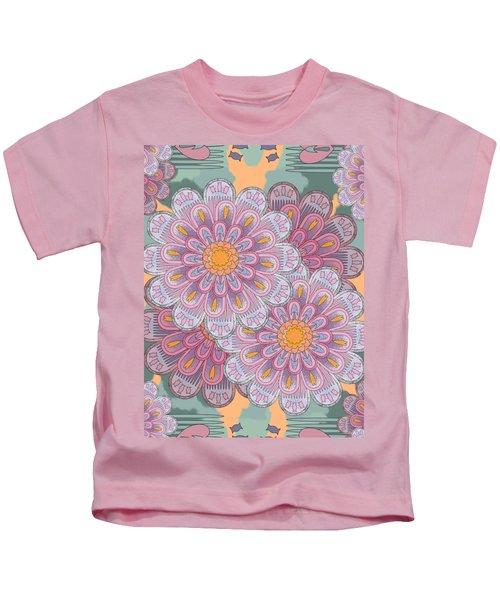 Pink Zinnia Mandala Kids T-Shirt