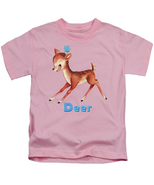 Playful Baby Deer Pattern Kids T-Shirt