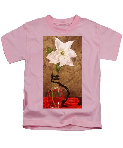 Poinsettia In Pitcher  Kids T-Shirt