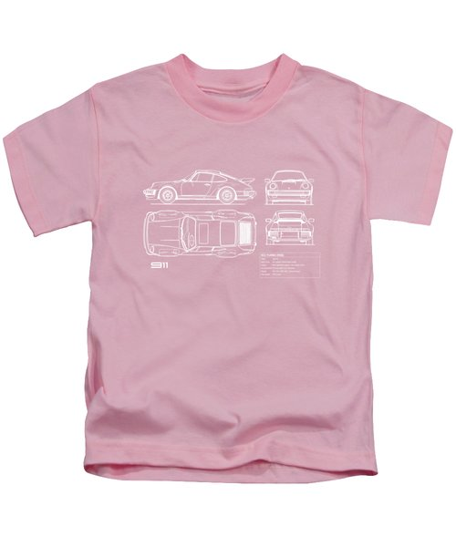 Porsche 911 Turbo Blueprint - Gray Kids T-Shirt