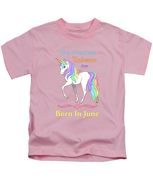 Pretty Rainbow Unicorn Born In June Birthday Kids T-Shirt by Crista Forest