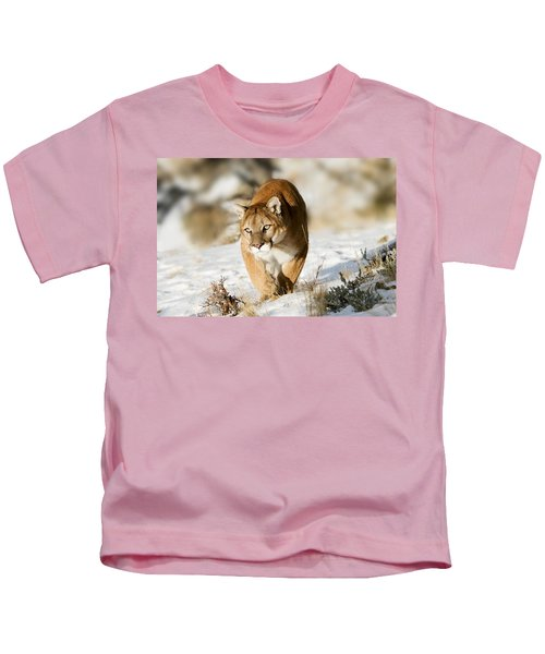 Prowling Mountain Lion Kids T-Shirt