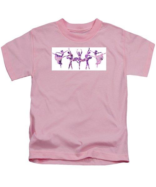 Purple Ballerinas Silhouettes  Kids T-Shirt