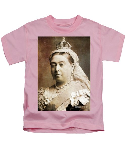 Queen Victoria, History Portraits By Mary Bassett Kids T-Shirt