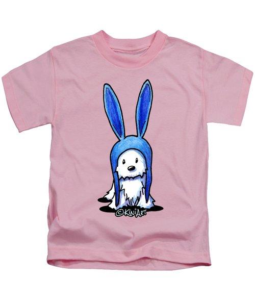 Rabbit Ears Westie Kids T-Shirt by Kim Niles