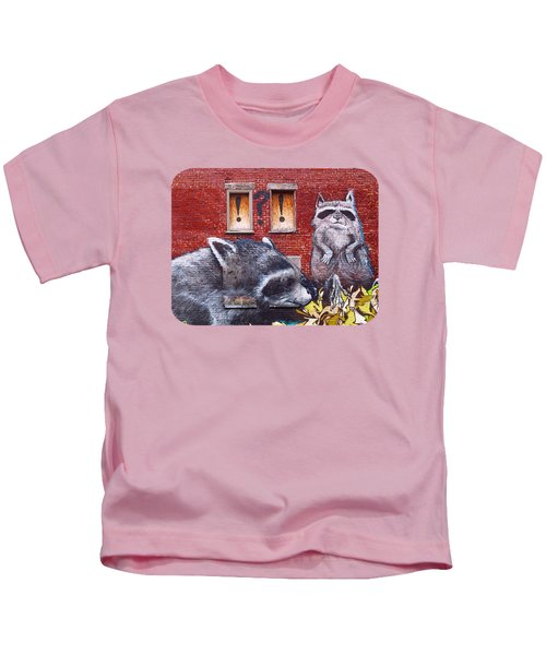 Raccoons Kids T-Shirt by Ethna Gillespie