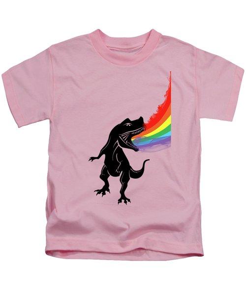 Rainbow Dinosaur Kids T-Shirt by Mark Ashkenazi