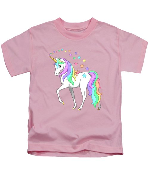 Rainbow Unicorn Clouds And Stars Kids T-Shirt by Crista Forest