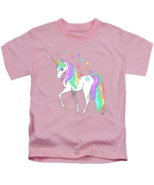 Rainbow Unicorn Clouds And Stars Kids T-Shirt