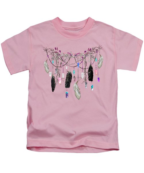 Raven Feathers And Roses Crystal Spirit Gazer Kids T-Shirt