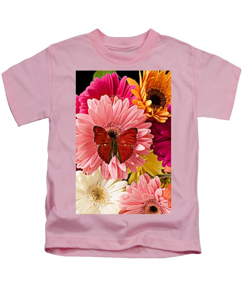 Red Butterfly On Bunch Of Flowers Kids T-Shirt