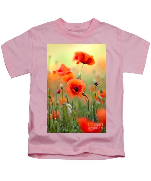 Red Corn Poppy Flowers 06 Kids T-Shirt
