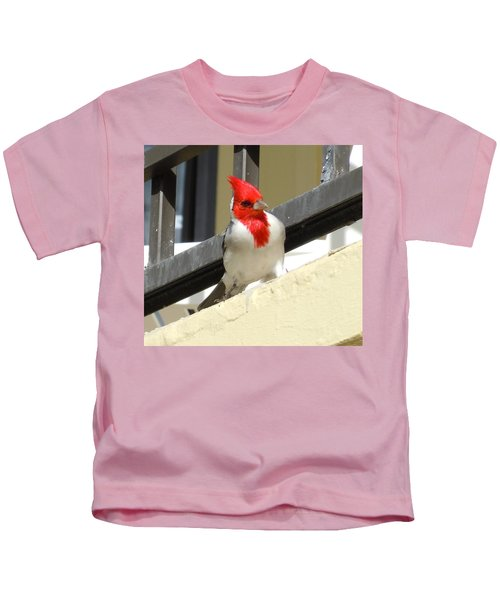 Red-crested Cardinal Posing On The Balcony Kids T-Shirt