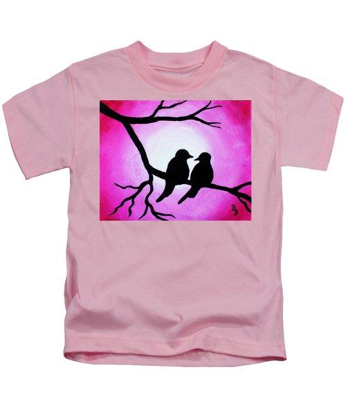 Red Love Birds Silhouette Kids T-Shirt