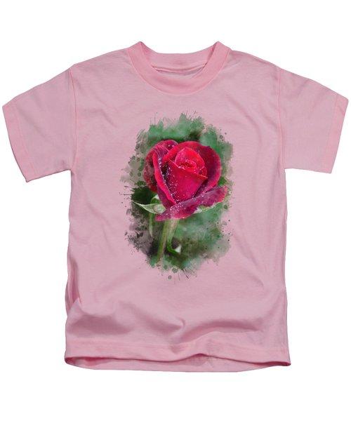Red Rose Watercolor Art Kids T-Shirt