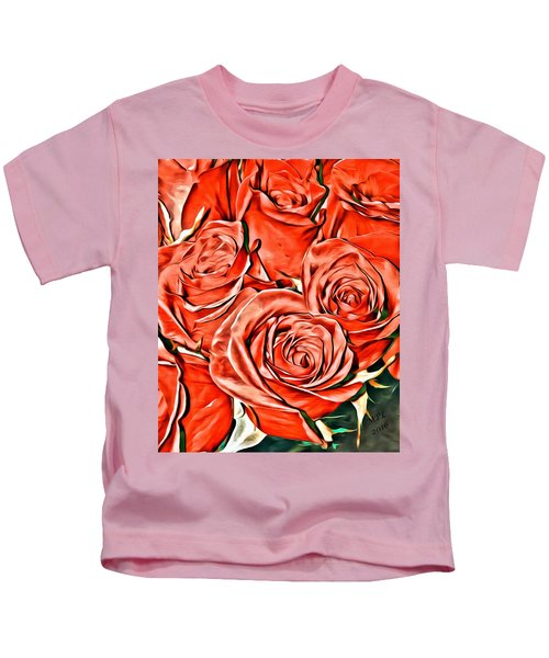 Kids T-Shirt featuring the painting Red Roses by Marian Palucci-Lonzetta