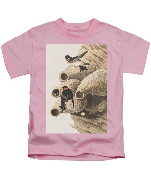 Republican Or Cliff Swallow Kids T-Shirt by John James Audubon