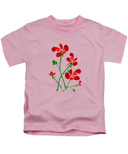 Rooster Flowers Kids T-Shirt by Anastasiya Malakhova