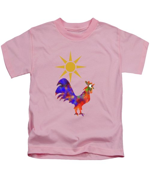 Rooster Pattern Kids T-Shirt by Christina Rollo