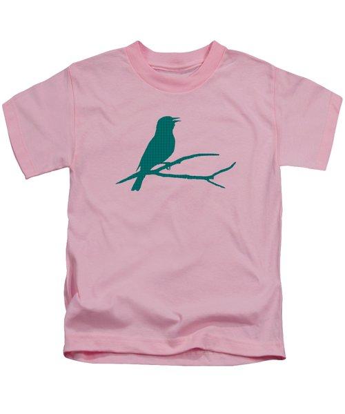 Rustic Green Bird Silhouette Kids T-Shirt