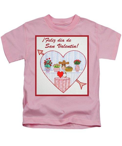 Ruthiemoo Heart Flores Feliz Dia De San Valentin Kids T-Shirt