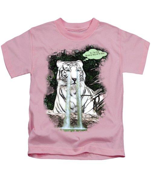 Sad White Tiger Typography Kids T-Shirt