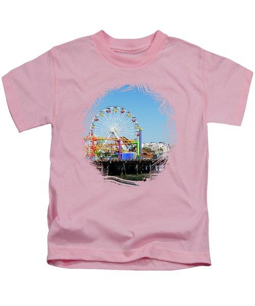 Santa Monica Ferris Wheel Kids T-Shirt by Stefanie Juliette