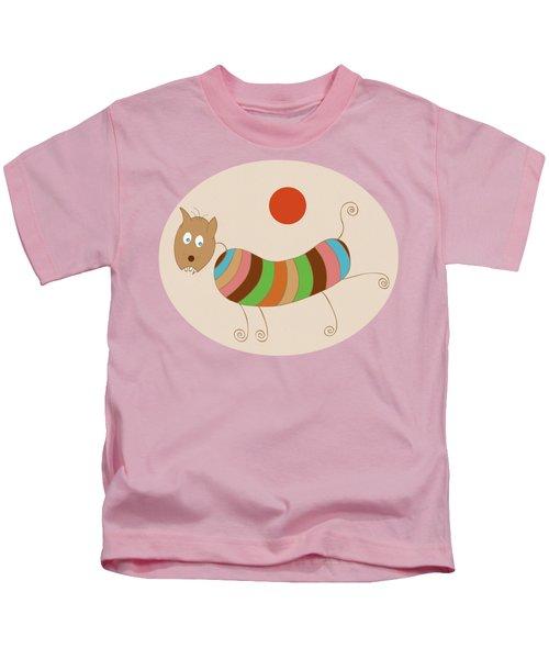 Sausage Dog In Ketchup Sunset Kids T-Shirt