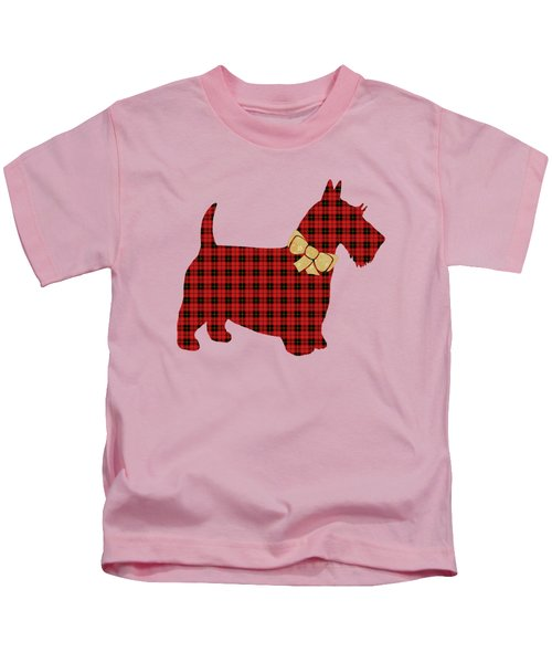 Kids T-Shirt featuring the mixed media Scottie Dog Plaid by Christina Rollo