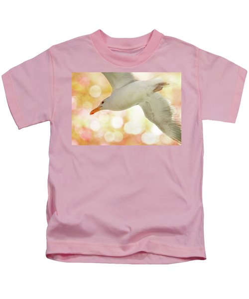 Seagull On Pink And Yellow Sky Kids T-Shirt