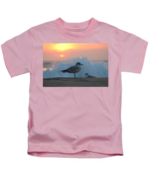 Seagull Seascape Sunrise Kids T-Shirt