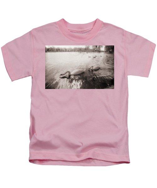 Sepia Swans Kids T-Shirt