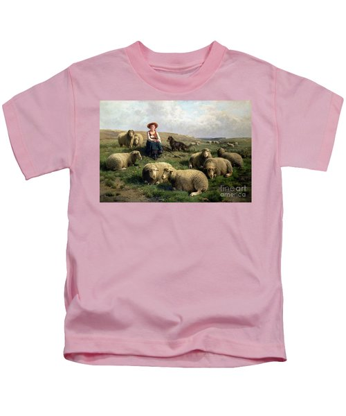 Shepherdess With Sheep In A Landscape Kids T-Shirt