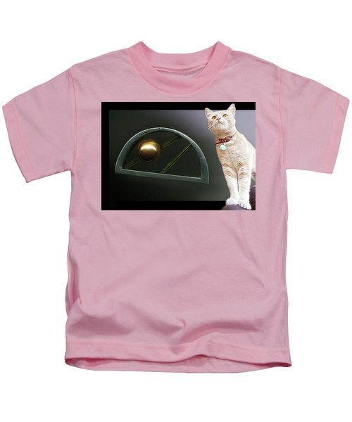 Cat, Silver And Gold  Brooch Kids T-Shirt