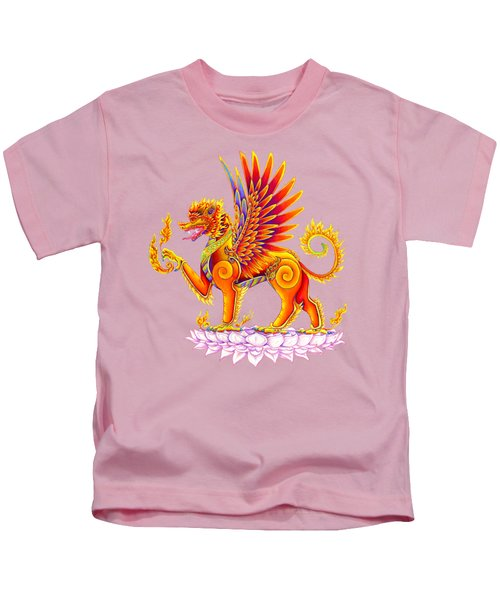 Singha Winged Lion Kids T-Shirt by Rebecca Wang