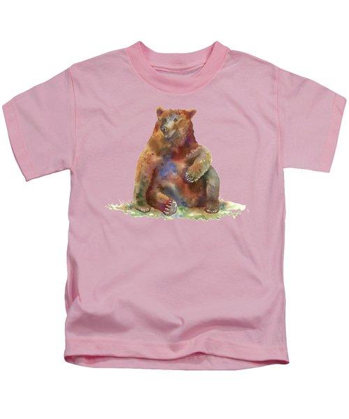 Sitting Bear Kids T-Shirt by Amy Kirkpatrick