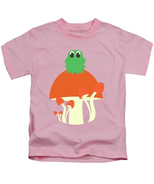 Small Frog Sitting On A Mushroom  Kids T-Shirt by Kourai