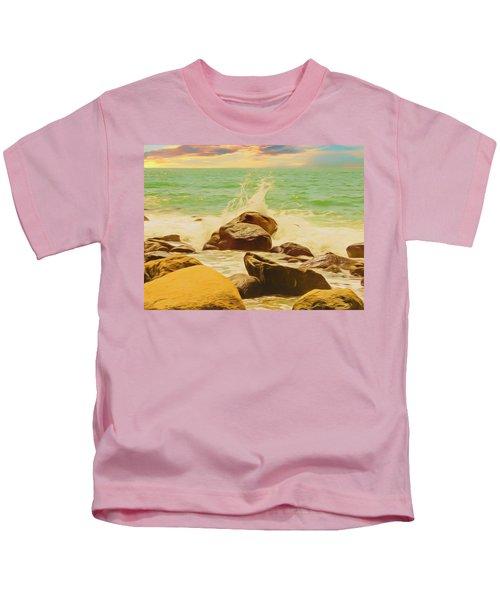 Small Ocean Waves,large Rocks. Kids T-Shirt