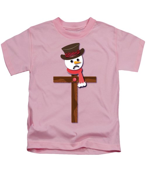 Snowman Christian Cross Kids T-Shirt by Reggie Hart