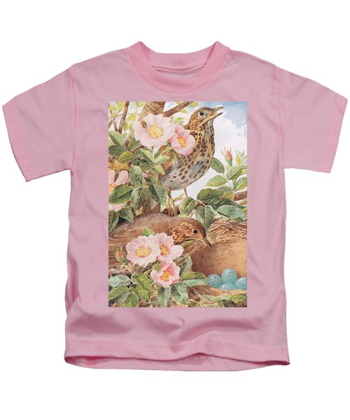 Song Thrushes With Nest Kids T-Shirt