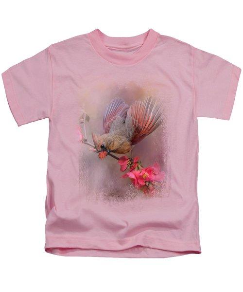 Spring Cardinal 2 Kids T-Shirt by Jai Johnson
