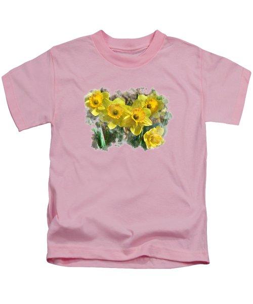 Spring Daffodils Watercolor Art Kids T-Shirt