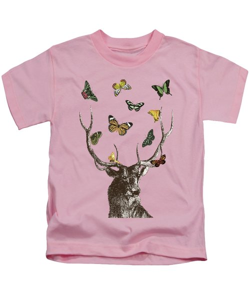 Stag And Butterflies Kids T-Shirt